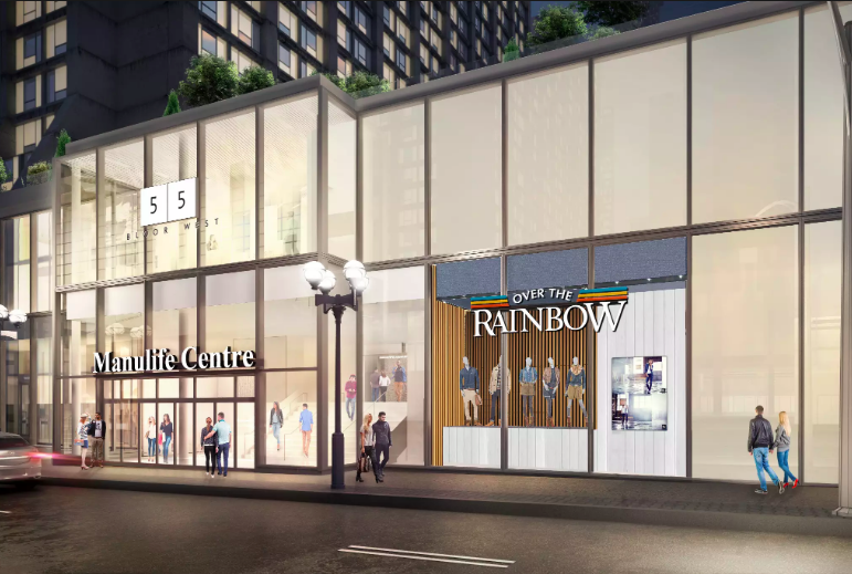 When construction to the exterior of Manulife Centre is completed in several months, Over the Rainbow will feature an external window facing Balmuto Street. Rendering: Over-the-Rainbow