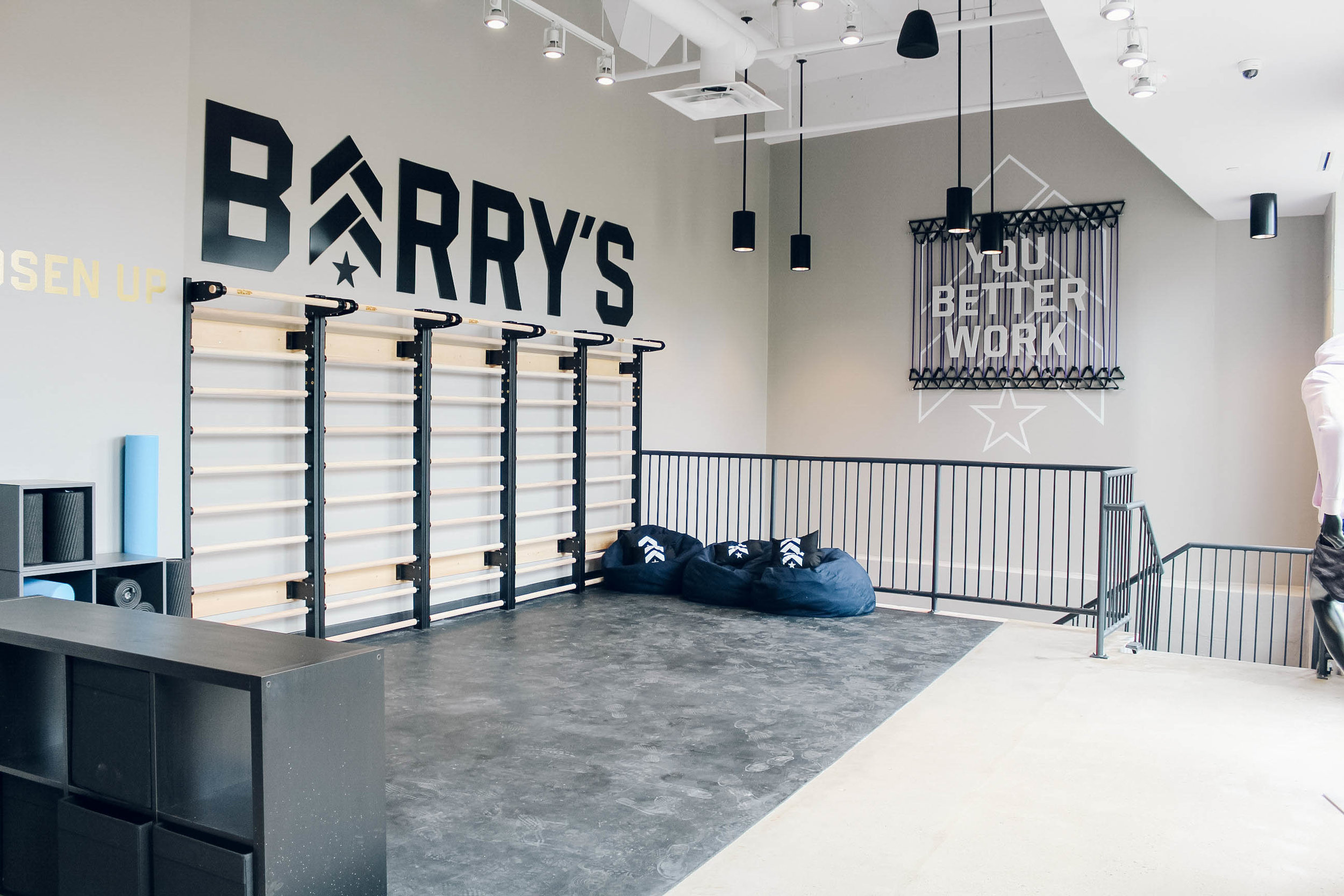 Stretching area on the 2nd floor. PHOTO: BARRY'S BOOTCAMP