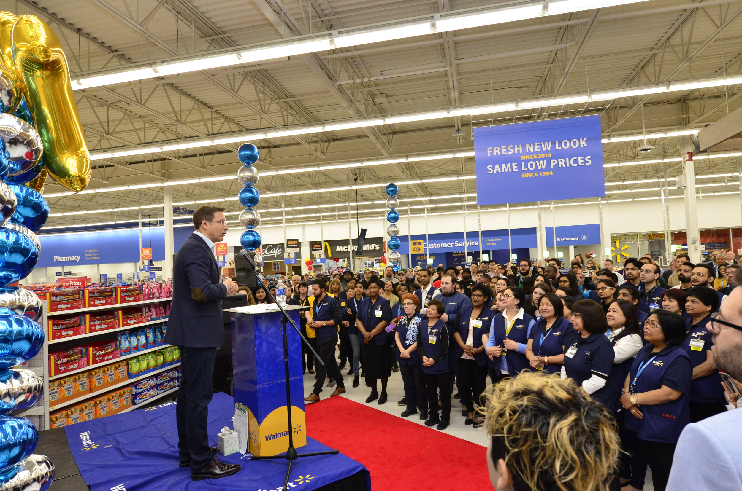 Lee Tappenden Speaking to Stockyards Supercentre Employees at Grand Opening of Urban Concept. Photo: Walmart Canada