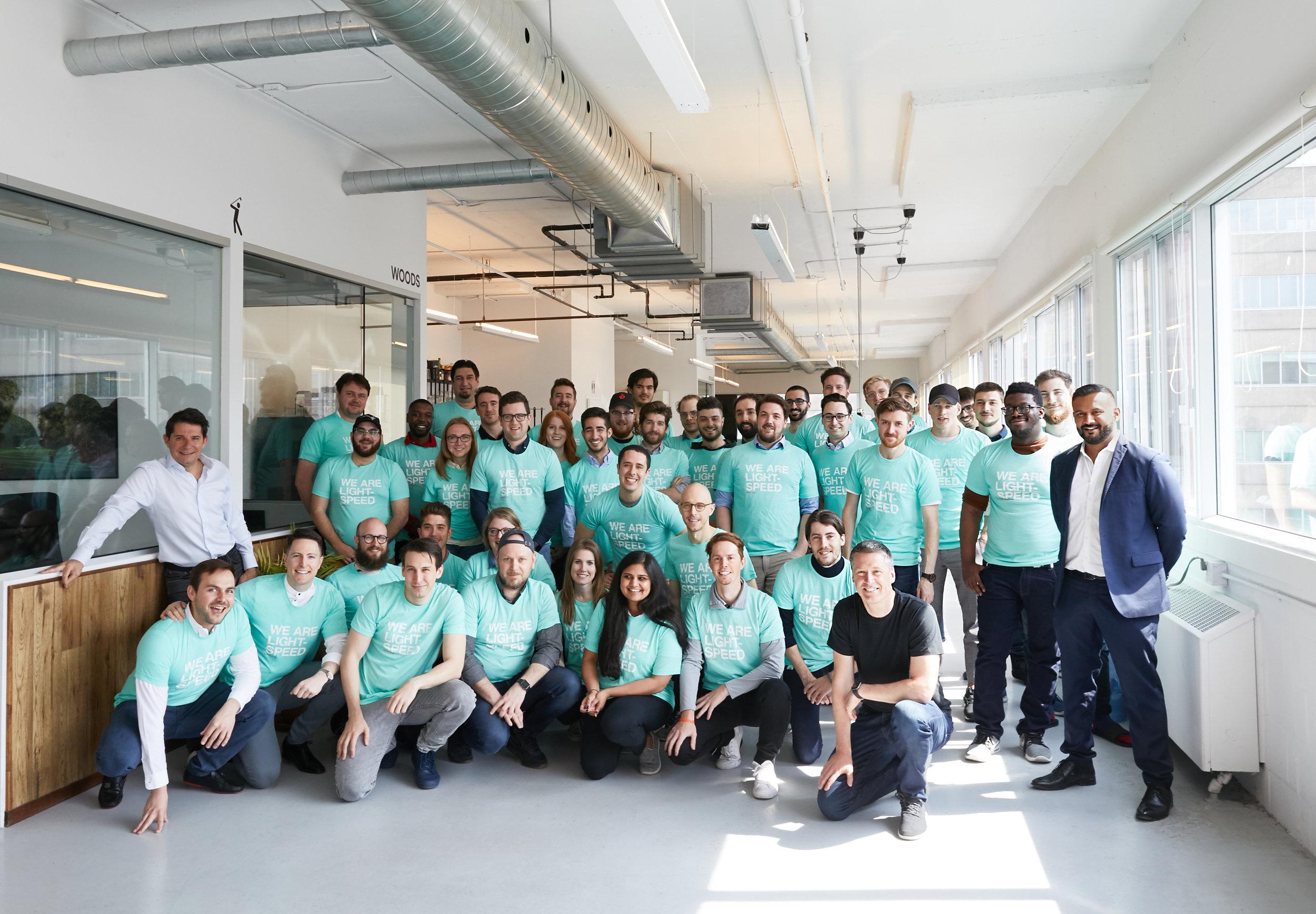 Chronogolf team with Lightspeed CEO Dax Dasilva (far right), Lightspeed president JP Chauvet (Far Left) and Lightspeed CFO Brandon Nussey (black shirt, front of photo) in Montreal. Photo: Lightspeed