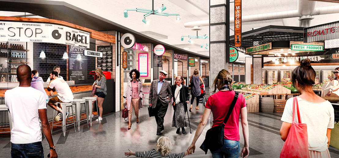 Rendering of the new food hall/market opening this fall at Galeries de la Capitale. Image: Oxford Properties