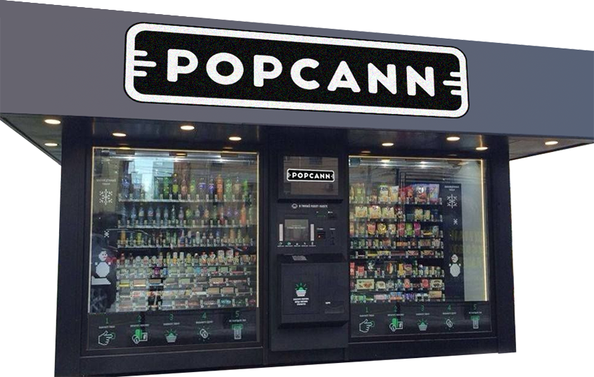 VENDING MACHINE-STYLE POPCANN RENDERING: POPCANN.COM