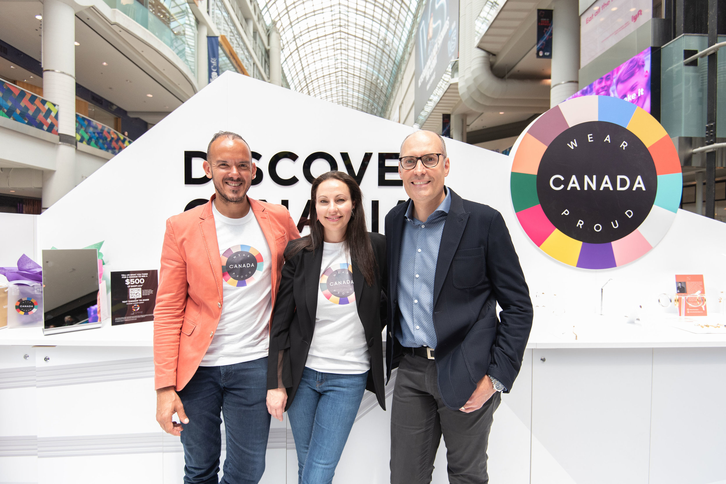 From L-R: Paulo Leone, Co-Founder, Wear Canada Proud, Vicky Milner, President of CAFA, Jose Ribau, Executive Vice President of Digital & Innovation, Cadillac Fairview. photo: cadillac fairview