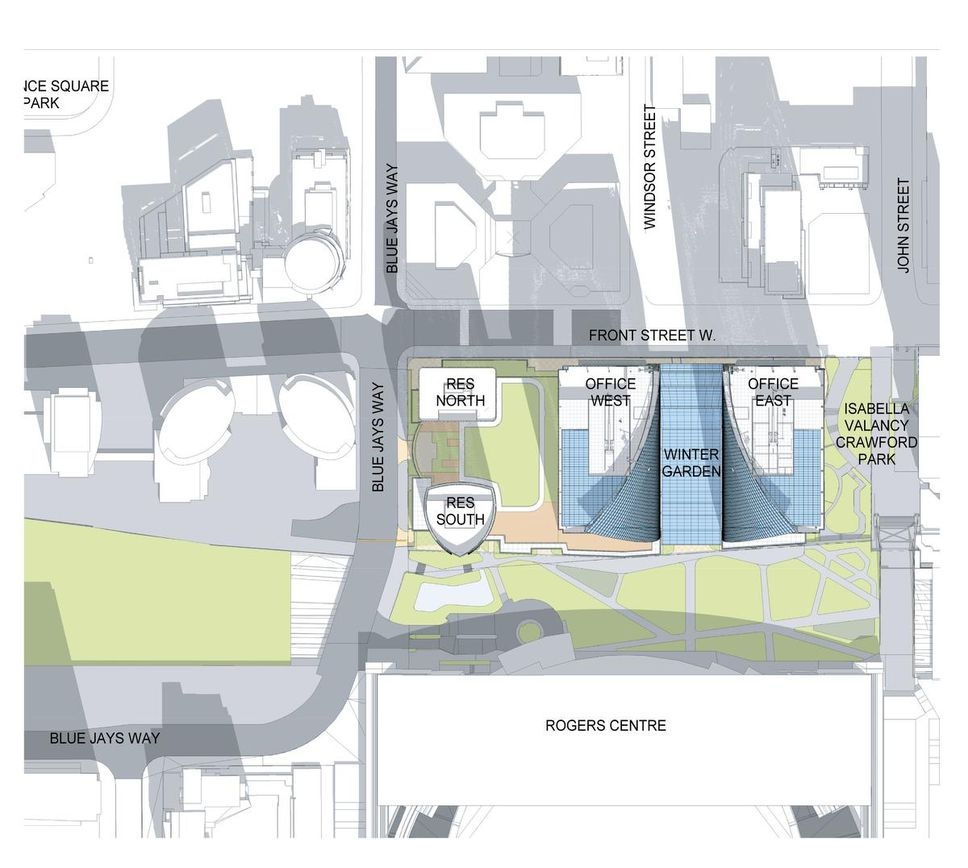 Site Plan, showing the positioning of buildings as well as the 'winter garden' and new park over the rail yards. About 200,000 square feet of Retail would be located within the complex. Image: Oxford Properties