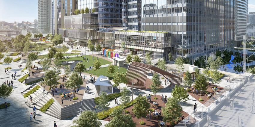 Park space over the rail yards at Union Park. Restaurants overlooking the park could have opportunities for large south-facing patios flooded by sunlight. Image: Oxford Properties.