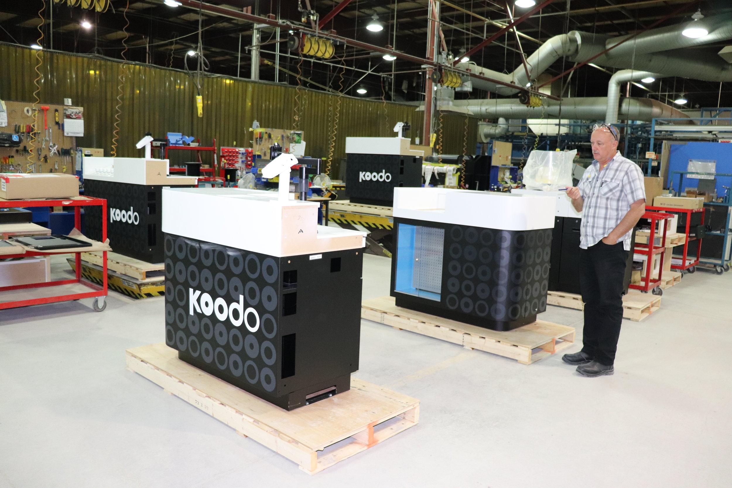 Koodo kiosks at the Pan-Oston facility in Peterborough, Ontario. PHOTO: PAN-OSTON