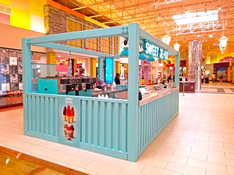 Toronto-based ice cream concept 'Sweet Jesus' has used kiosks to expand its retail locations in Canada as well as in the United States. Photo is in Vaughan Mills north of Toronto. Photo: Sweet Jesus Ice Cream