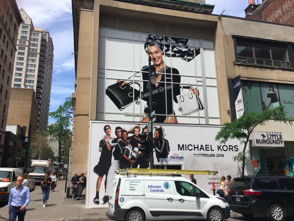 HOARDING AT THE FUTURE MICHAEL KORS MONTREAL FLAGSHIP STORE PHOTO: CRAIG PATTERSON