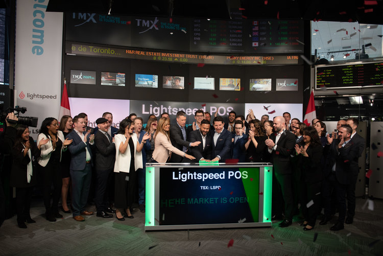 LIGHTSPEED CEO AND FOUNDER DAX DASILVA PUSHING THE BUTTON TO COMMENCE TRADING ON THE MORNING OF MARCH 8, 2019. PHOTO: LIGHTSPEED VIA NKPR.