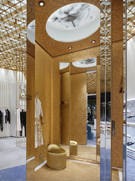 Ground-floor dressing room with a 3-D Medusa head on the ceiling. PHOTO: VERSACE
