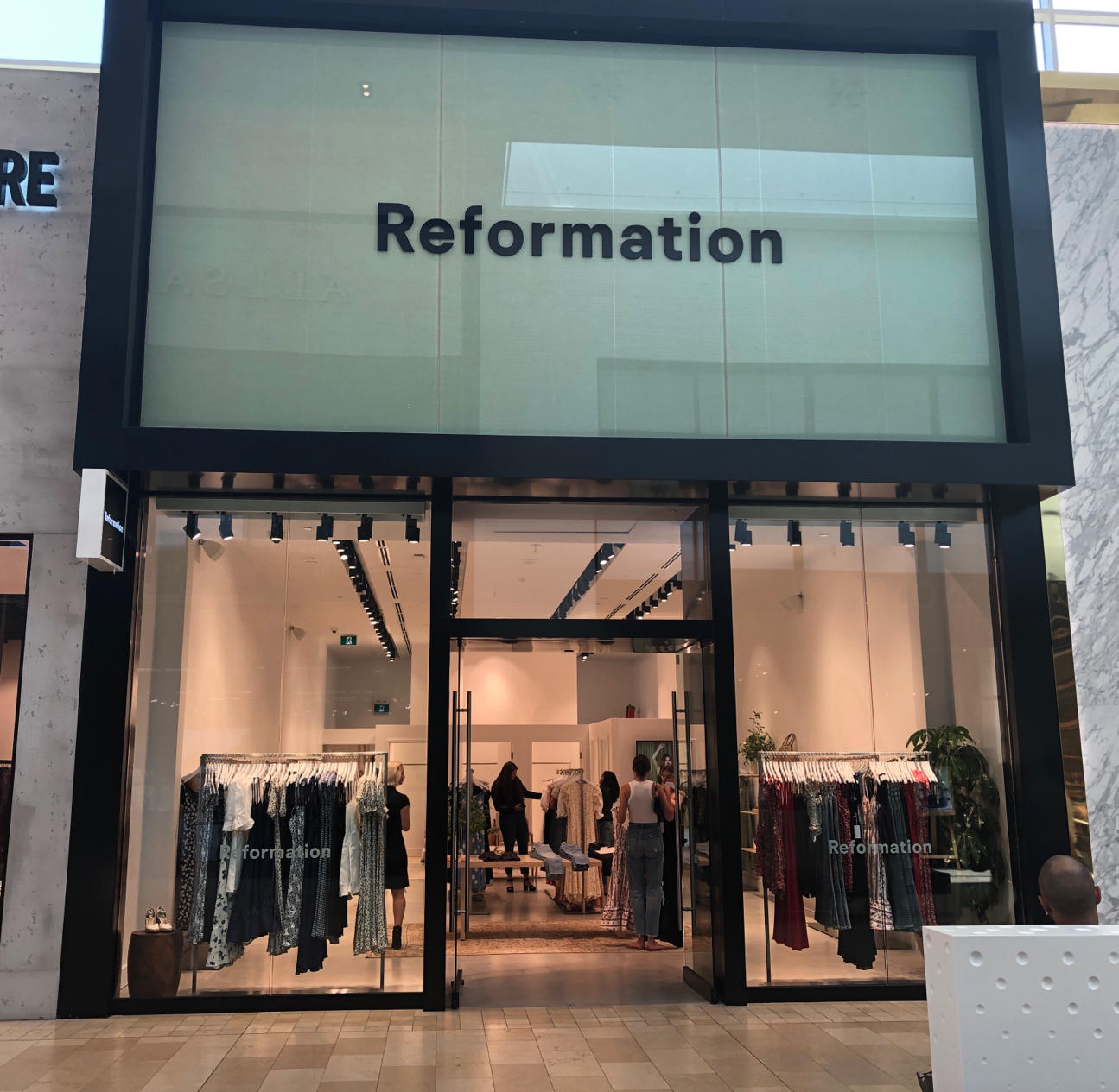 Reformation's Yorkdale storefront (source says signage will be changed). Photo: Jeff Berkowitz via LinkedIn.