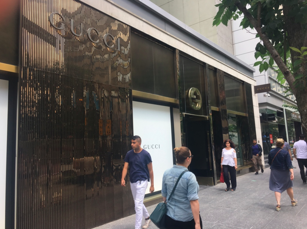 White paper over the windows on 1/2 of Gucci's Bloor STreet flagship in Toronto. The other half of the store will be renovated once the western portion is completed. Photo: Craig Patterson