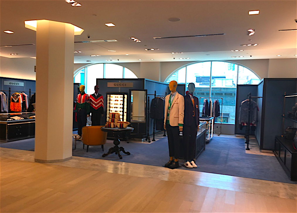 Gucci men's concession on the 4th floor of 'Holt Renfrew Ogilvy' in Montreal. Photo: Craig Patterson