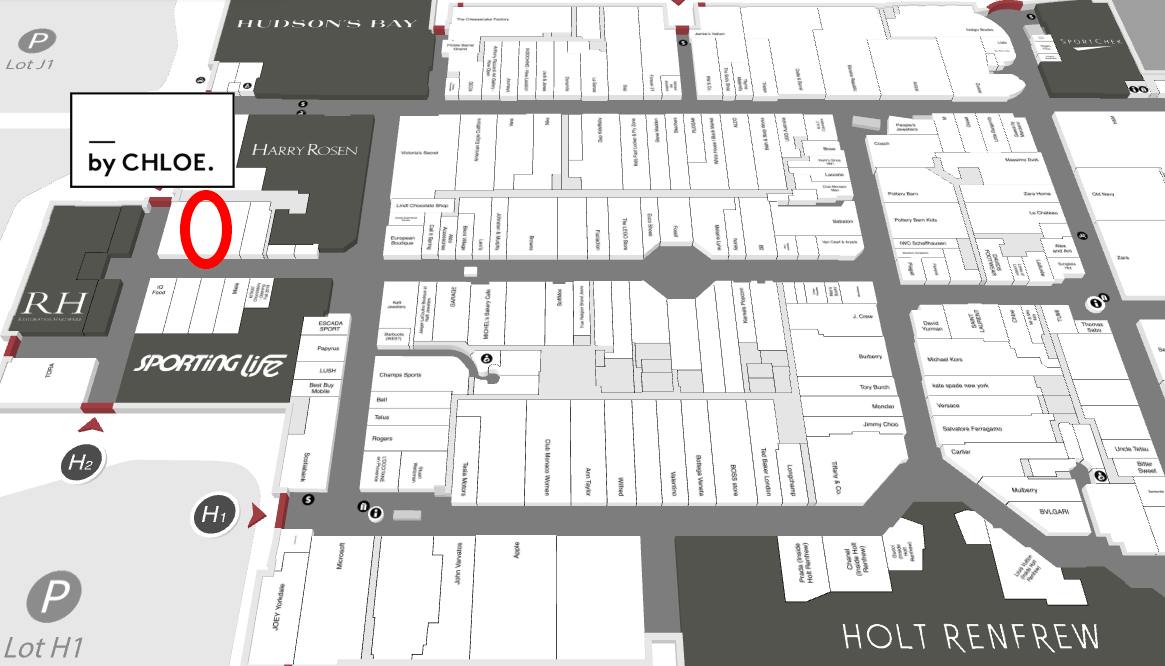 By Chloe will open near RH and sporting life, as circled in red in this interactive Yorkdale mall map.