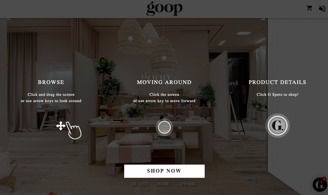 Screen shot of the opening explanatory page on the new Goop Toronto website.