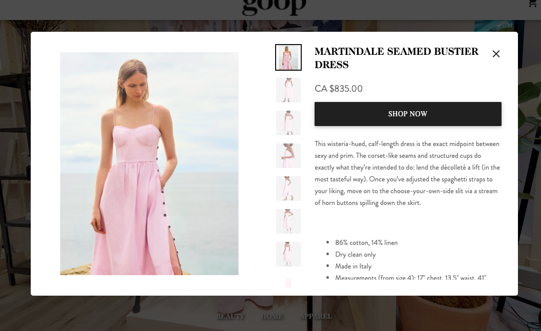 SCREEN CAPTURE of a product for sale on the site