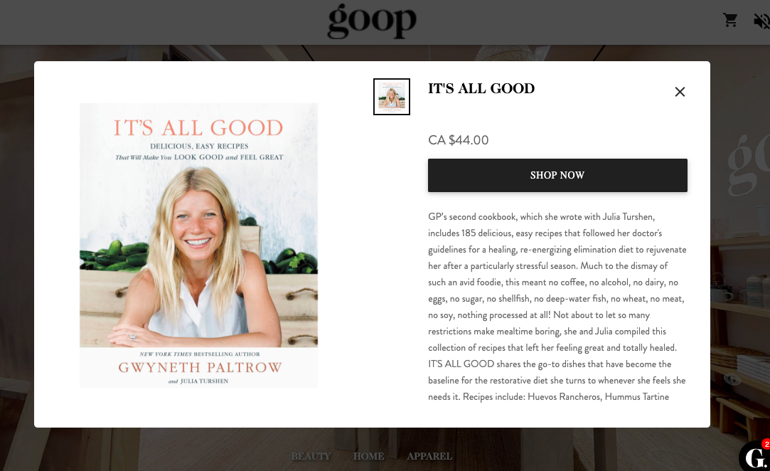 Screen shot of a product for sale on the Goop Toronto site.