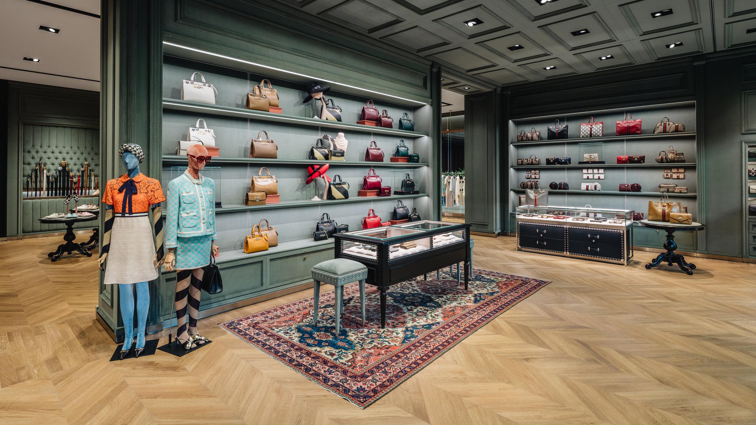 Women's handbag section. Photo: Gucci