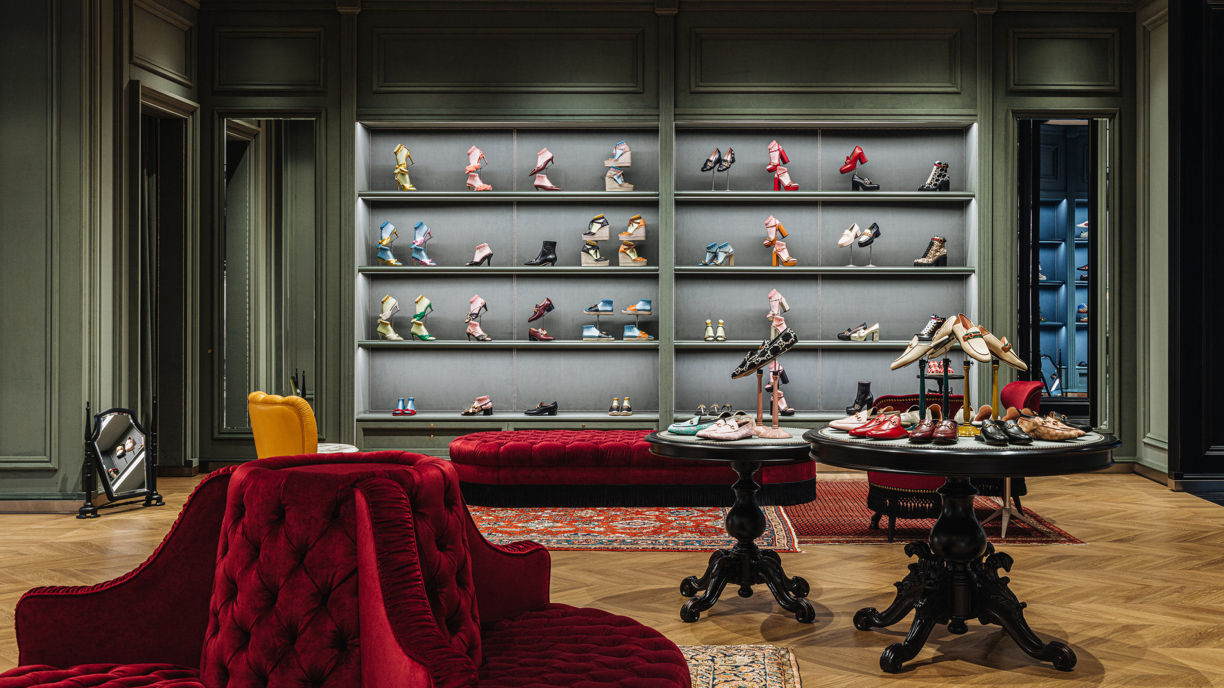 Women's footwear wall at Gucci Yorkdale. Photo: Gucci