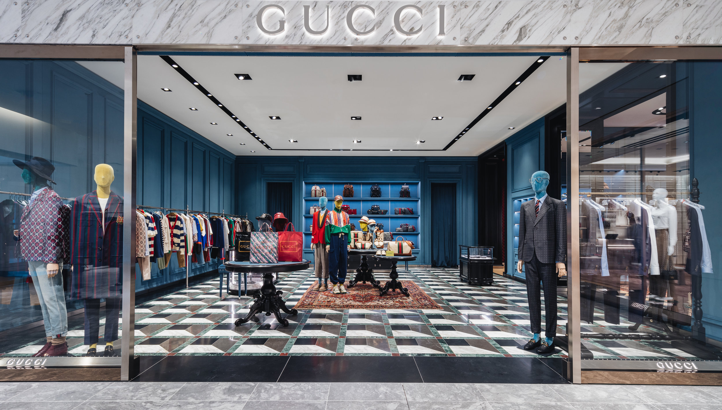 Entrance from Holt Renfrew into the men's section of the 'world of' Gucci boutique, Yorkdale. Photo: Gucci