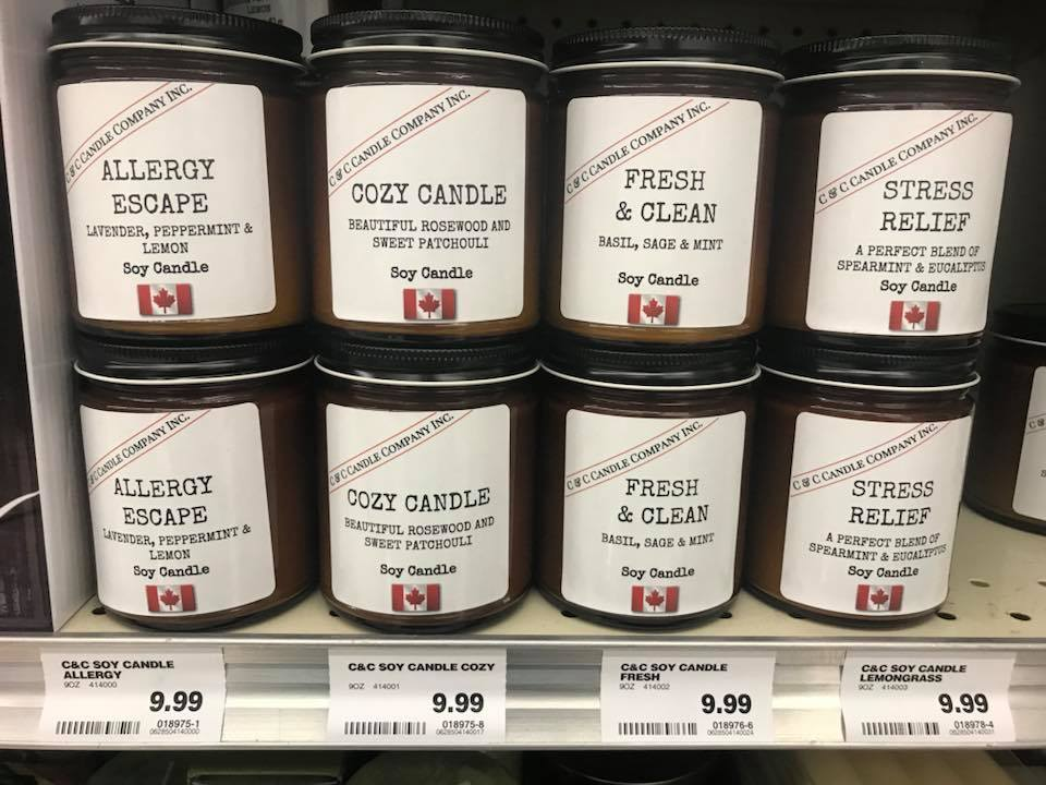 C&C CANDLE COMPANY INC. PRODUCTS AT LONDON DRUGS PHOTO: C&C CANDLE COMPANY INC. VIA FACEBOOK