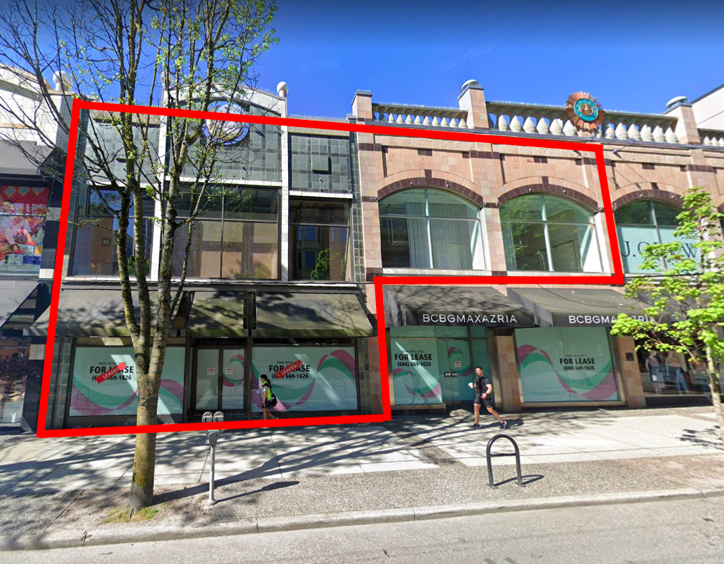 COS will occupy 9,000 square feet in two retail spaces. That will include the entire A/X Armani Exchange space at 1070 Robson Street that spans 6,000 square feet over two levels, with an additional 3,000 square feet on the second level of a space formerly occupied by BCBG. Image: Google Street View