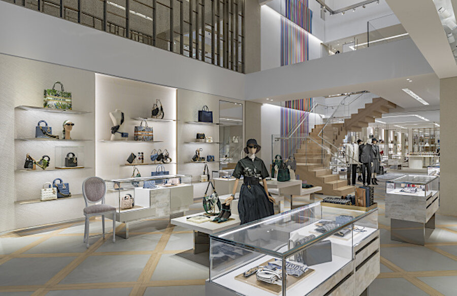 The ground floor women's handbag and accessory area in Dior's new flagship at The Colonnade in Toronto. Photo: Kristen Pelou
