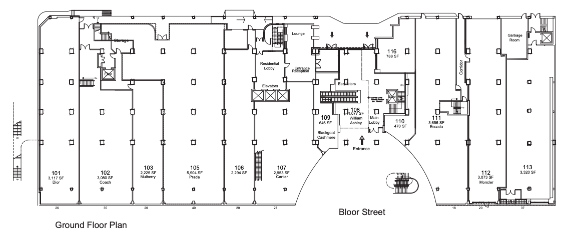 Above and below: Lease plans of the Colonnade at 131 Bloor St. W. in Toronto, via Morguard