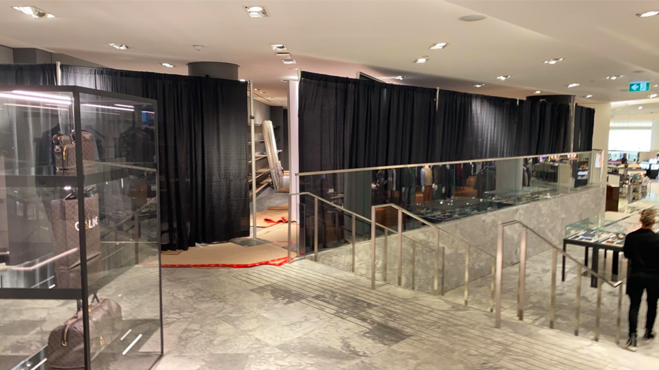 Photo: Lee Rivett (Under Construction: New men's footwear department at Holts Vancouver.)