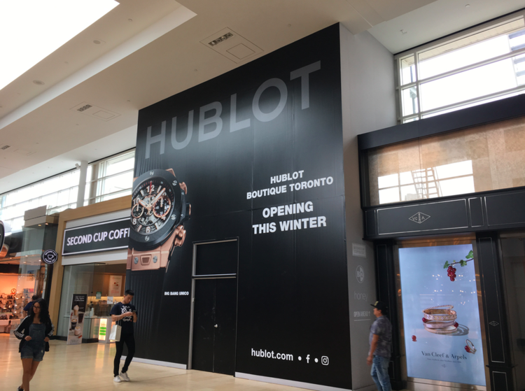 CONSTRUCTION HOARDING AT TORONTO'S YORKDALE SHOPPING CENTRE. PHOTO: RETAIL INSIDER