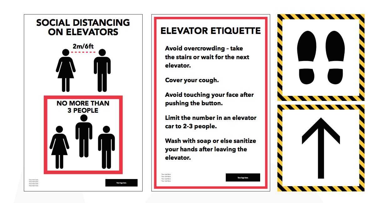 Astley Gilbert can supply signs and decals for your elevators. these pieces are customizable.