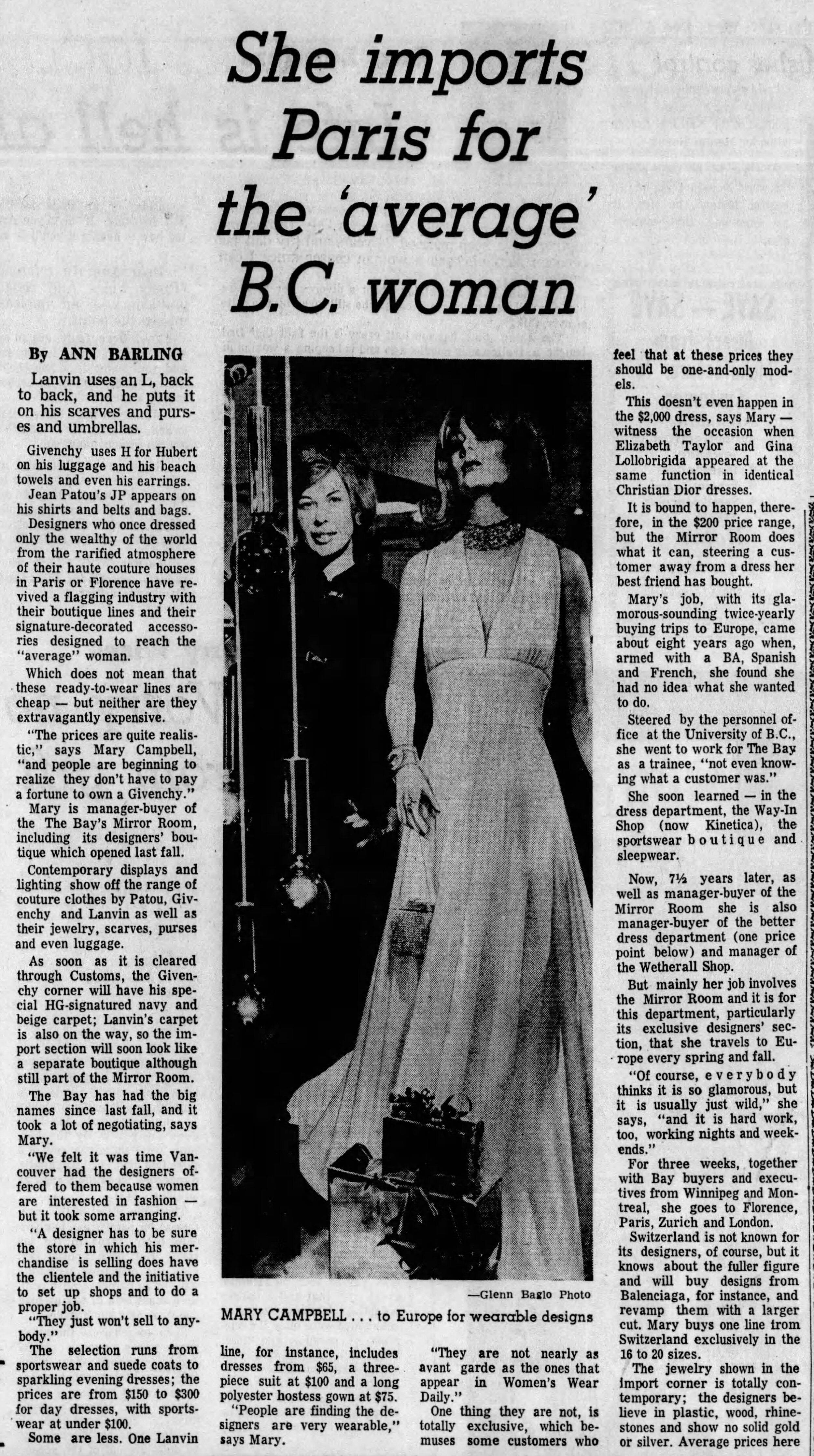 Newspaper clipping from the Vancouver Sun on December 6, 1972. Image via newspapers.com