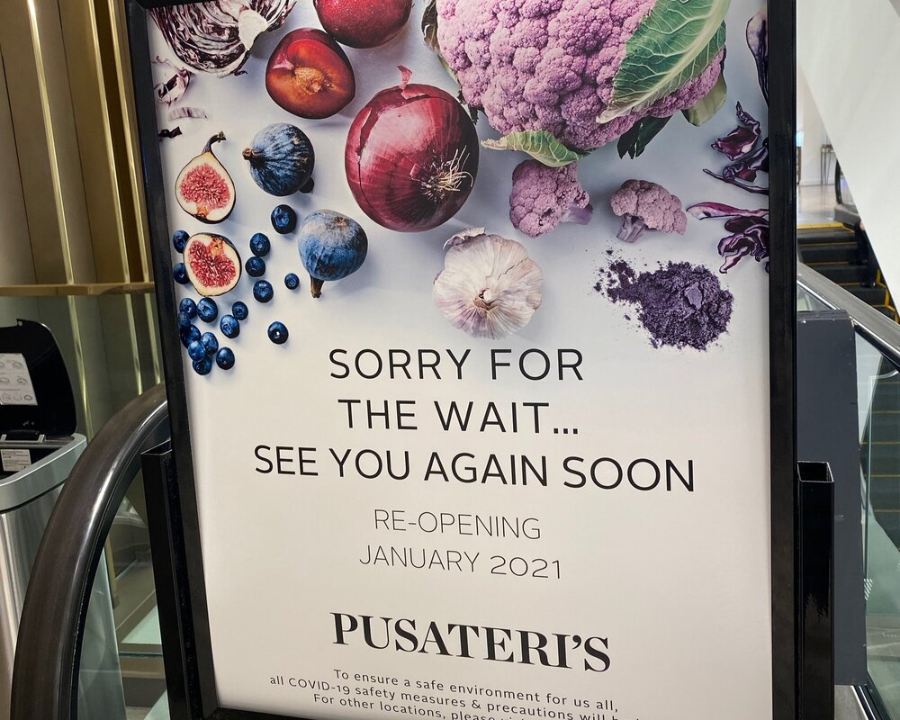 pusateri's fine foods reopening january 2021 signage. photo: craig patterson