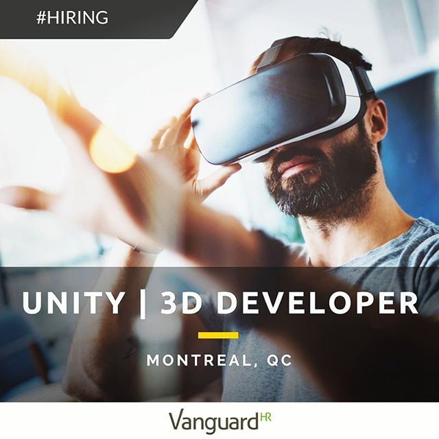 #hiring an Augmented / Virtual Reality Developer with solid experience working with Unity. Outstanding opportunity with an international design studio based in #montreal - Click link in bio to apply!  #vr #virtualreality #3d #3dvisualization #gamedev #design #unity3d #developer #simulation #programming #ui #software #softwareengineering #3dmodeling