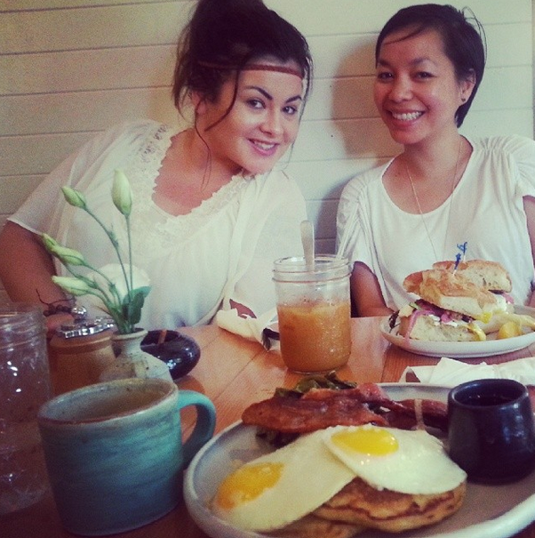 "One of our amazing breakfasts at Sweedeedee.  These girls are seriously ""Golden Sauce""  hahahaha!"