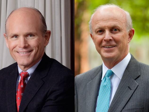 Thomas Hollister, vice president for finance, and Paul J. Finnegan, University treasurer