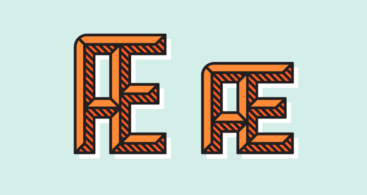 Layered system with ligatures