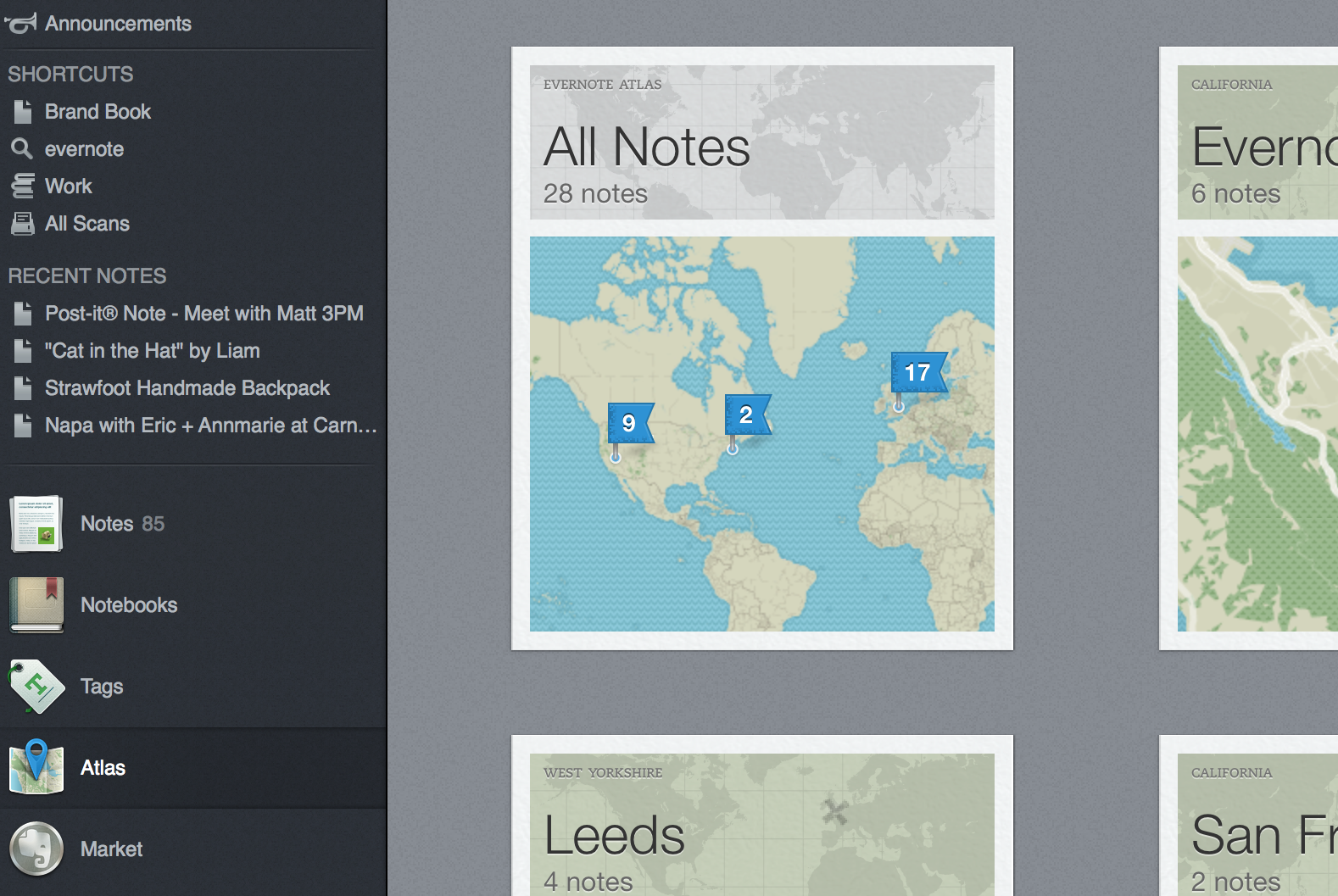 Notes organized by location