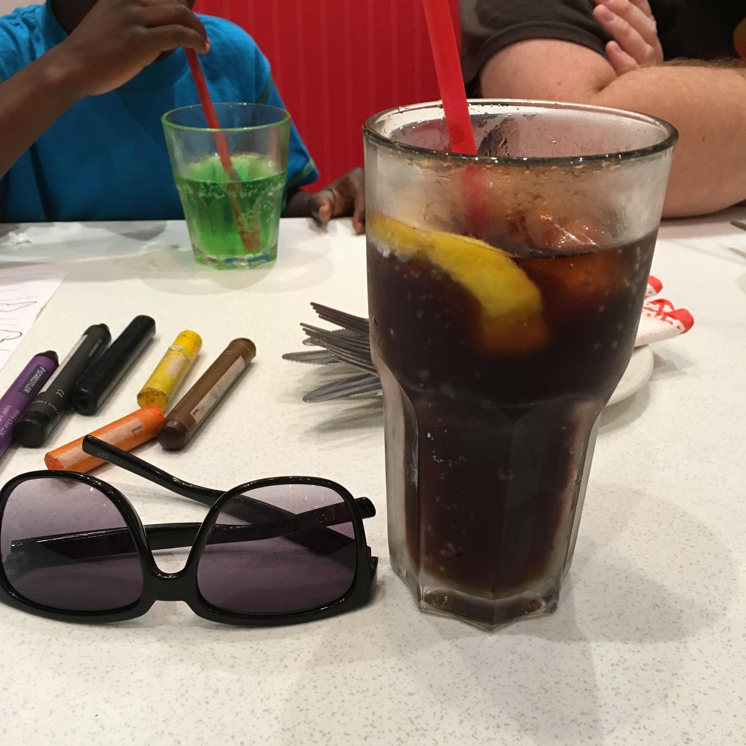 """My """"mega"""" Coke Light (Diet Coke) and T's cream soda ."""