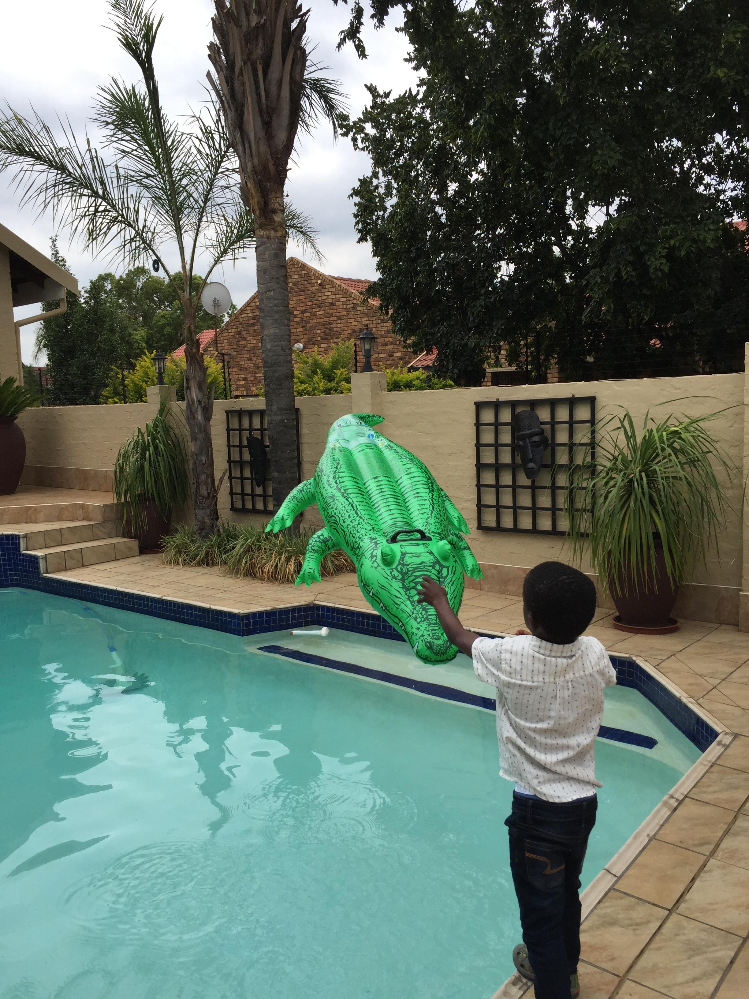 Throwing the crocodile.