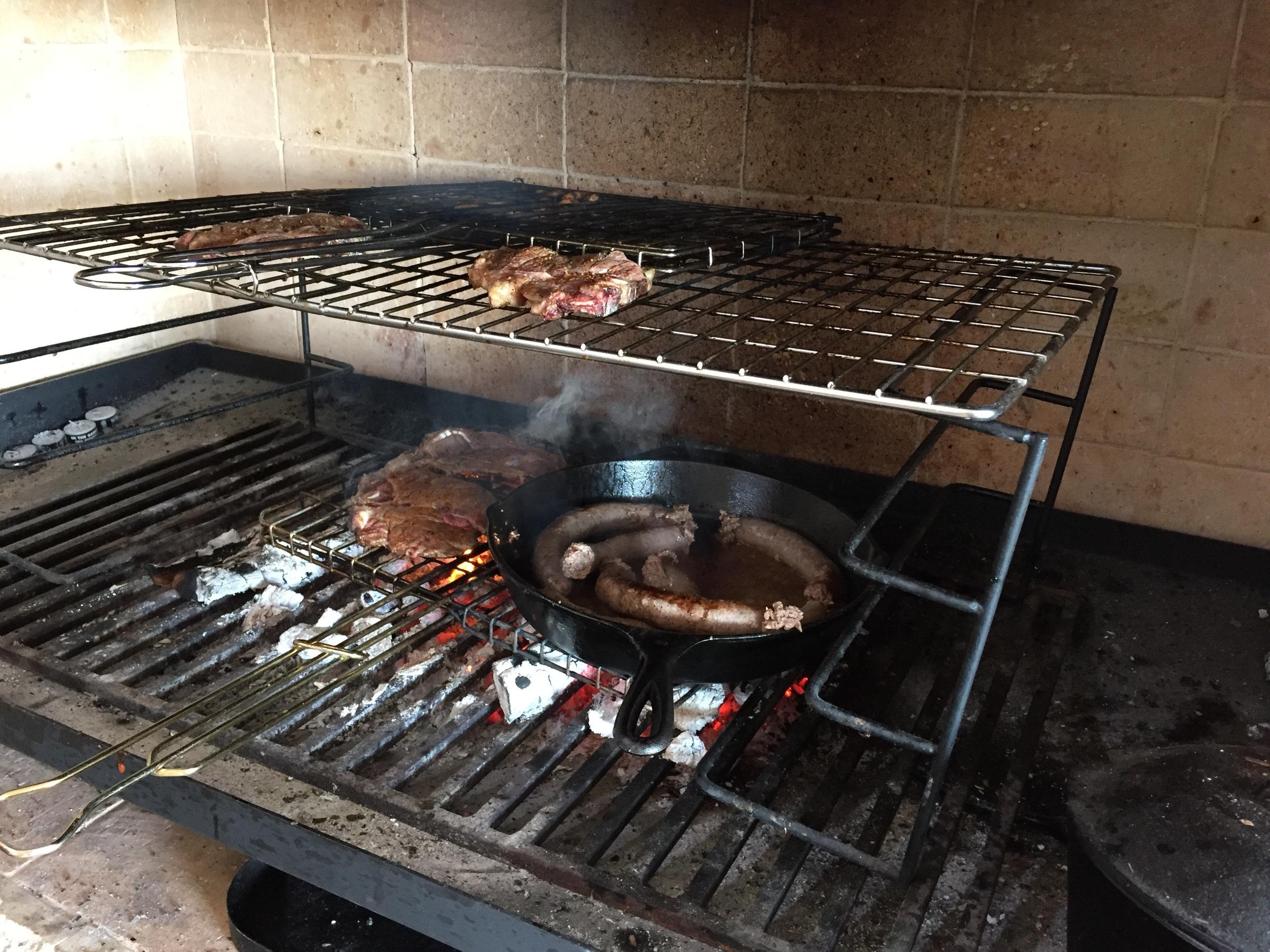 Boom! Steaks, chicken kabobs, boerewors (farmers' sausage).
