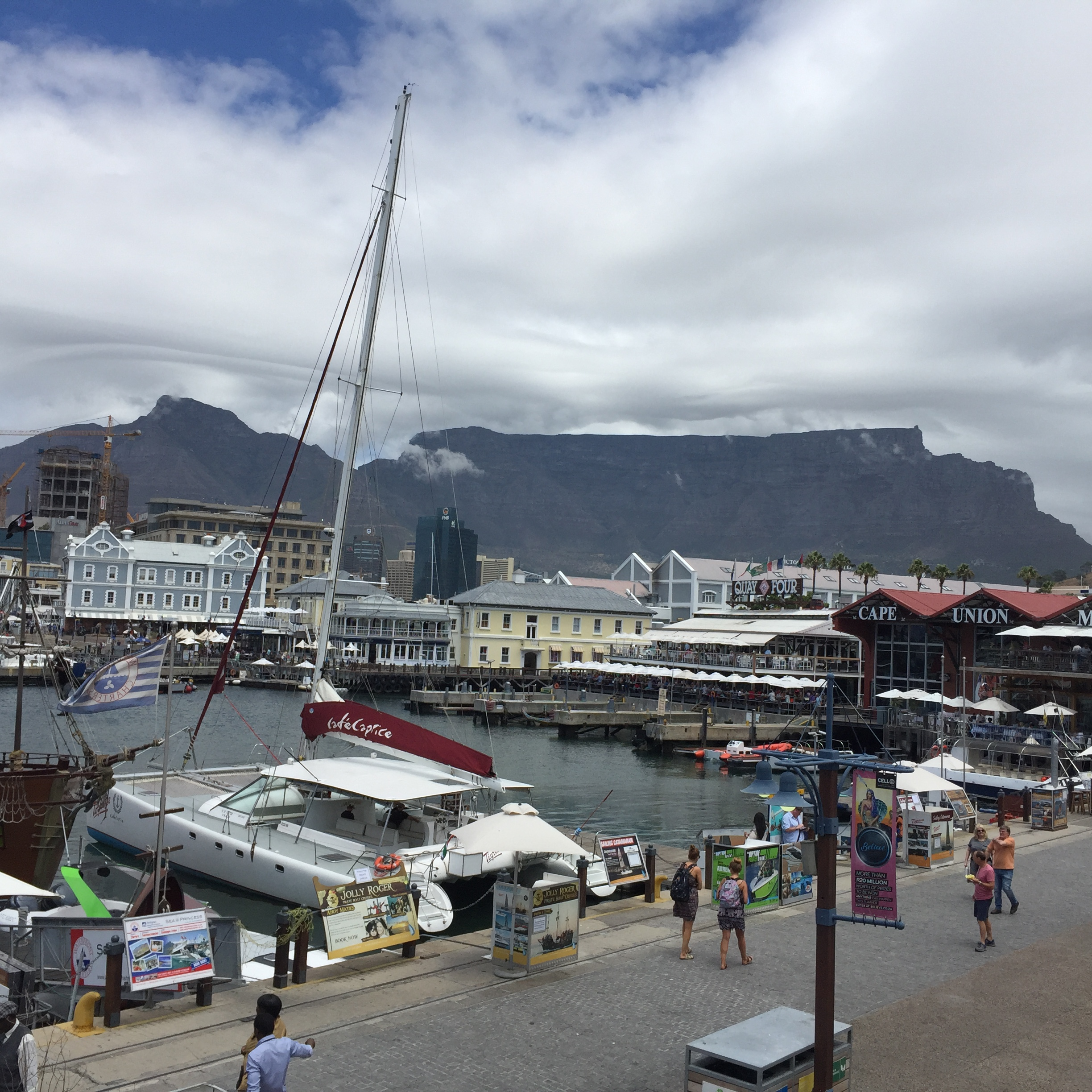 Our view at lunch. V&A Waterfront and Table Mountain