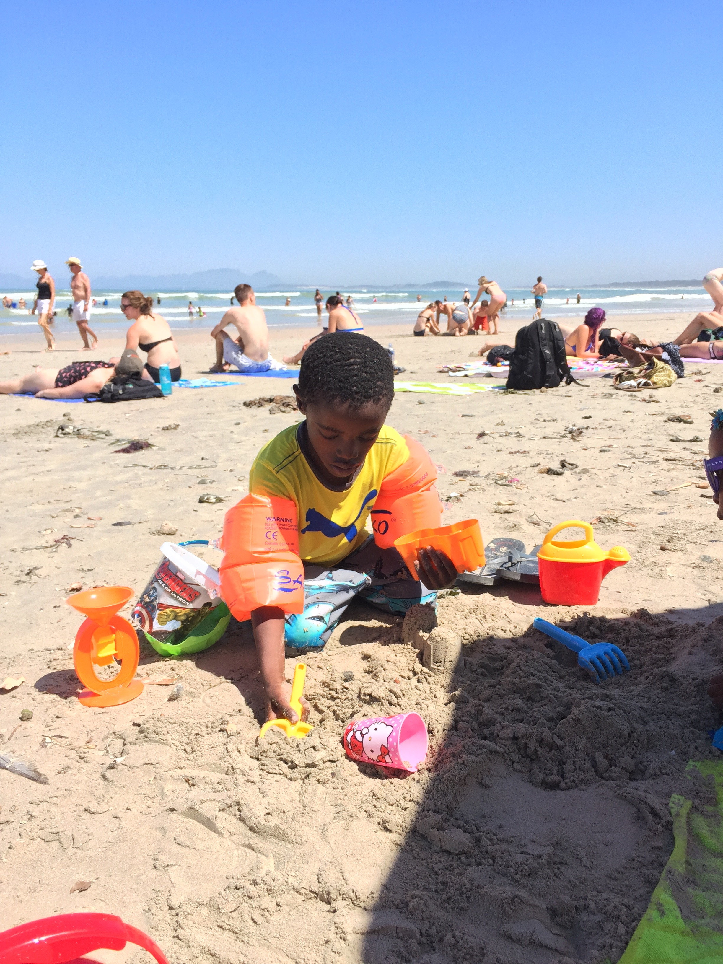 Hard at work building sand castles.