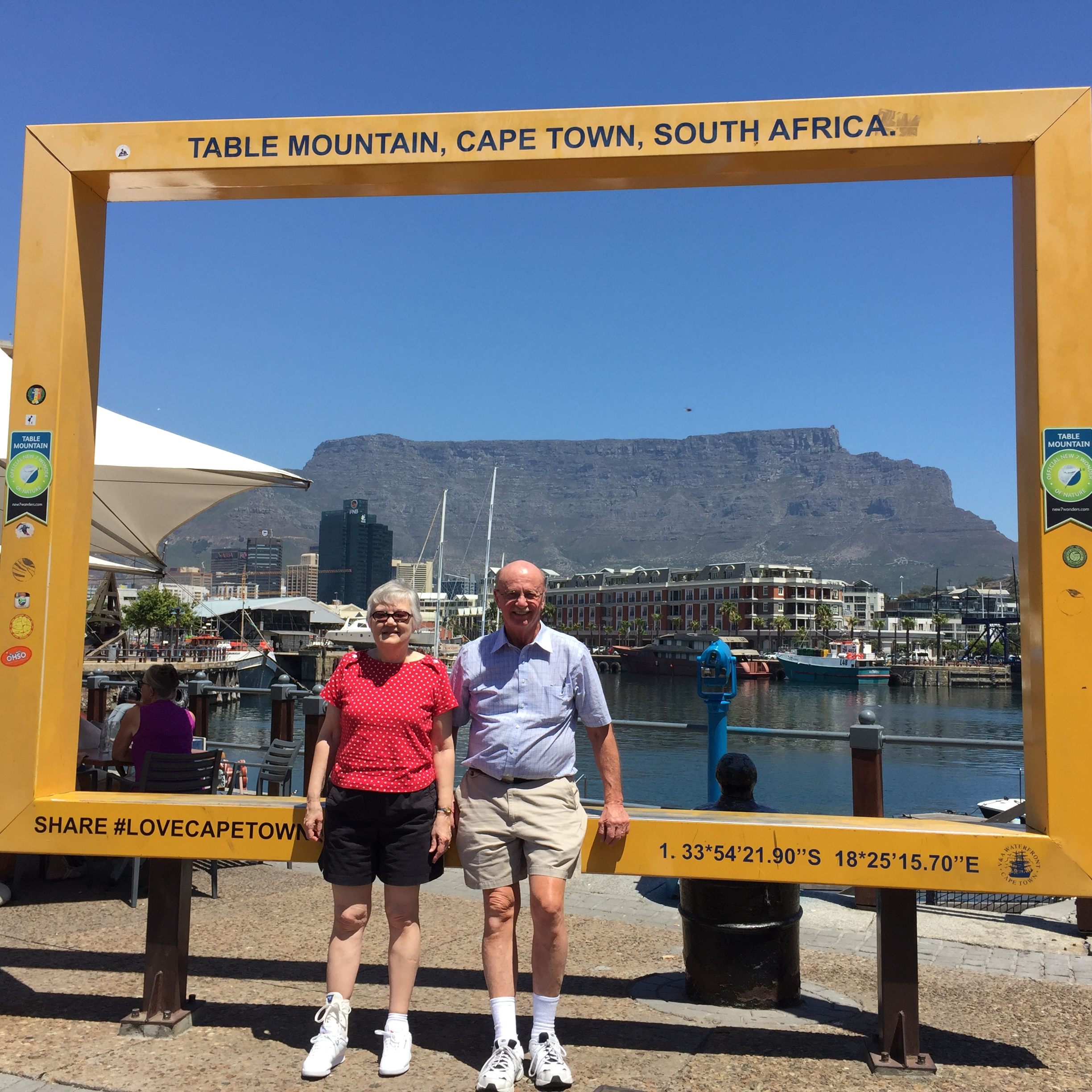 Grandma and Grandpa Malcolm smiling in Cape Town!