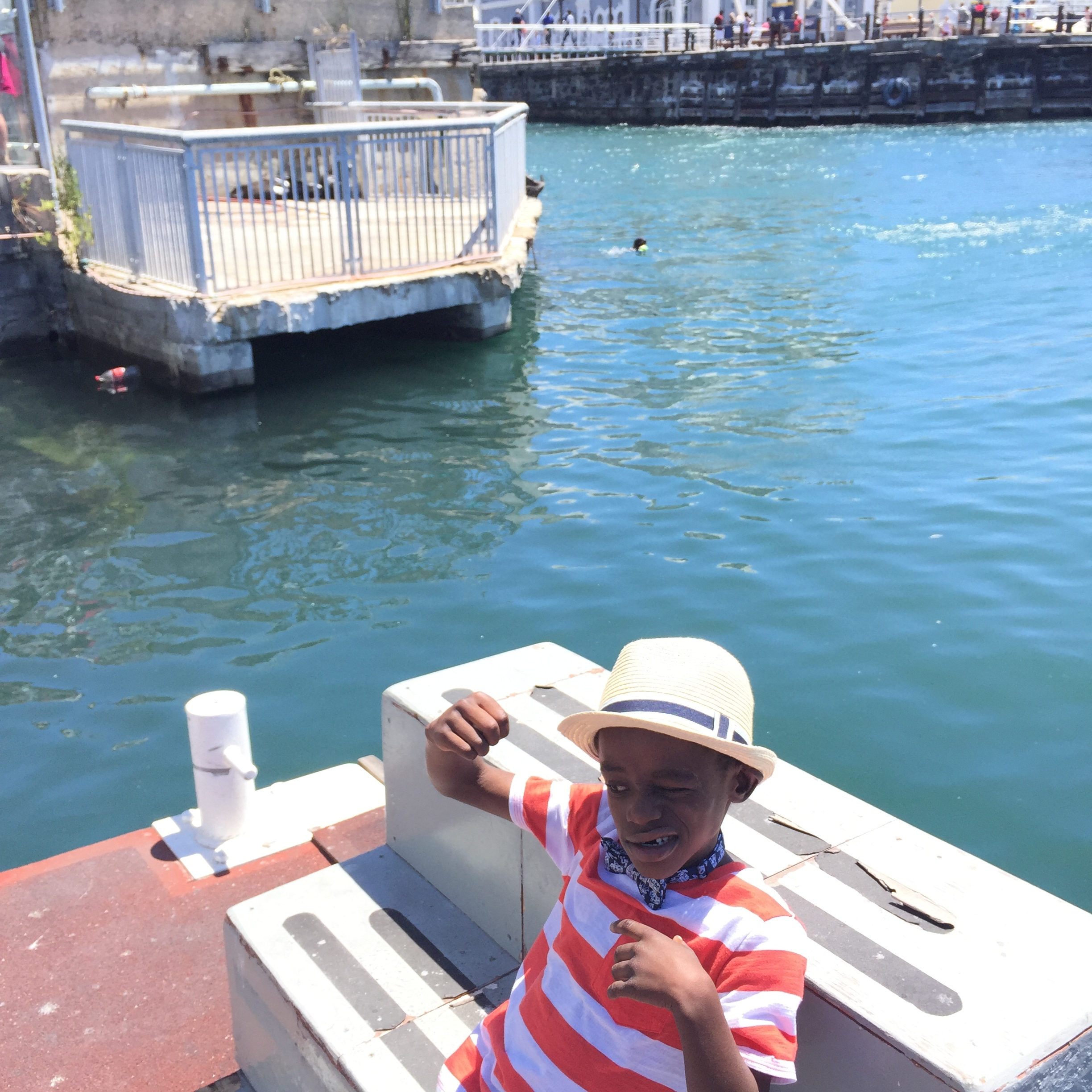 He wanted his picture with the seals, then proceeded to pretend he was fighting them.