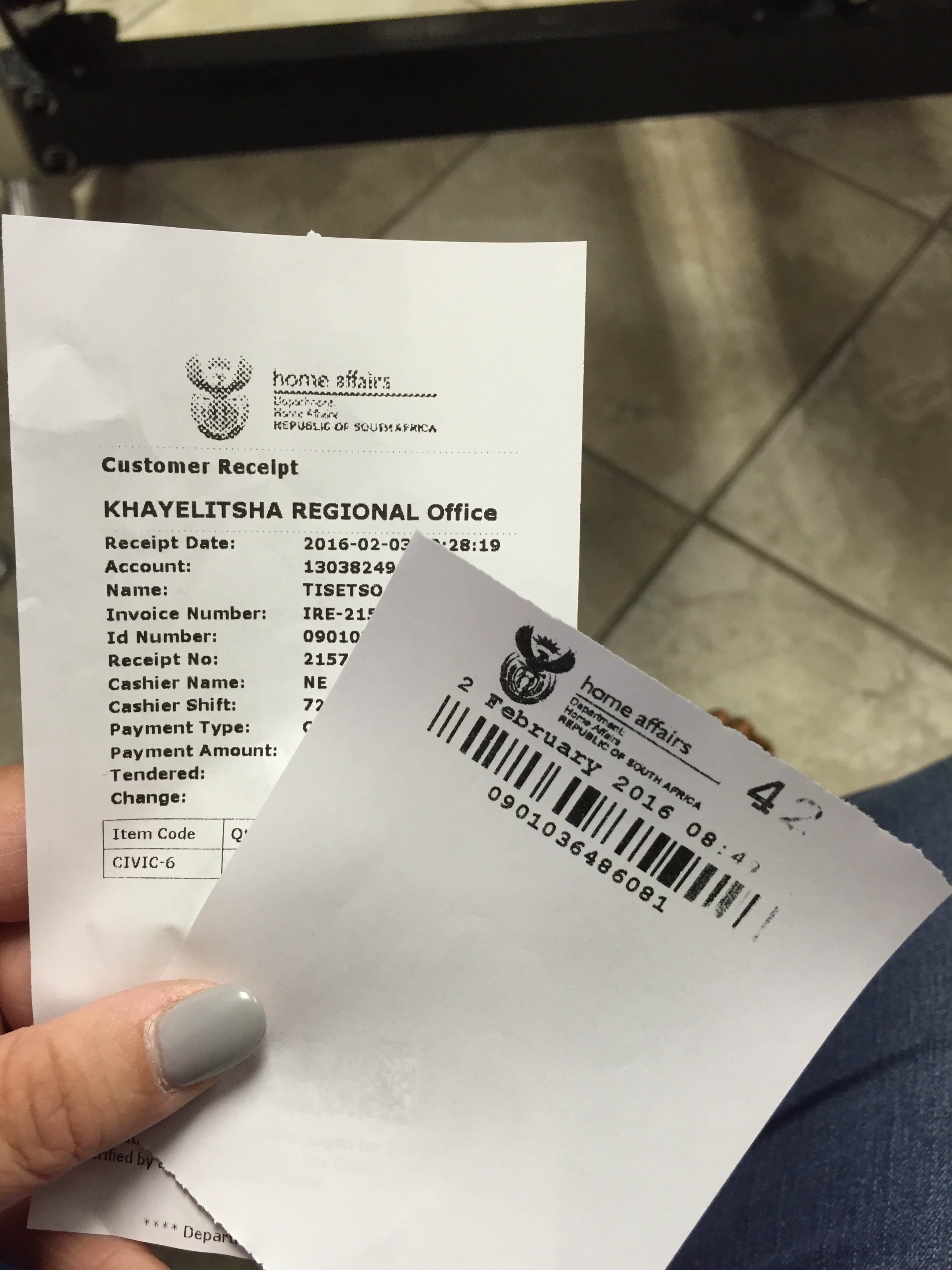 Paperwork to pick up Tisetso's passport.