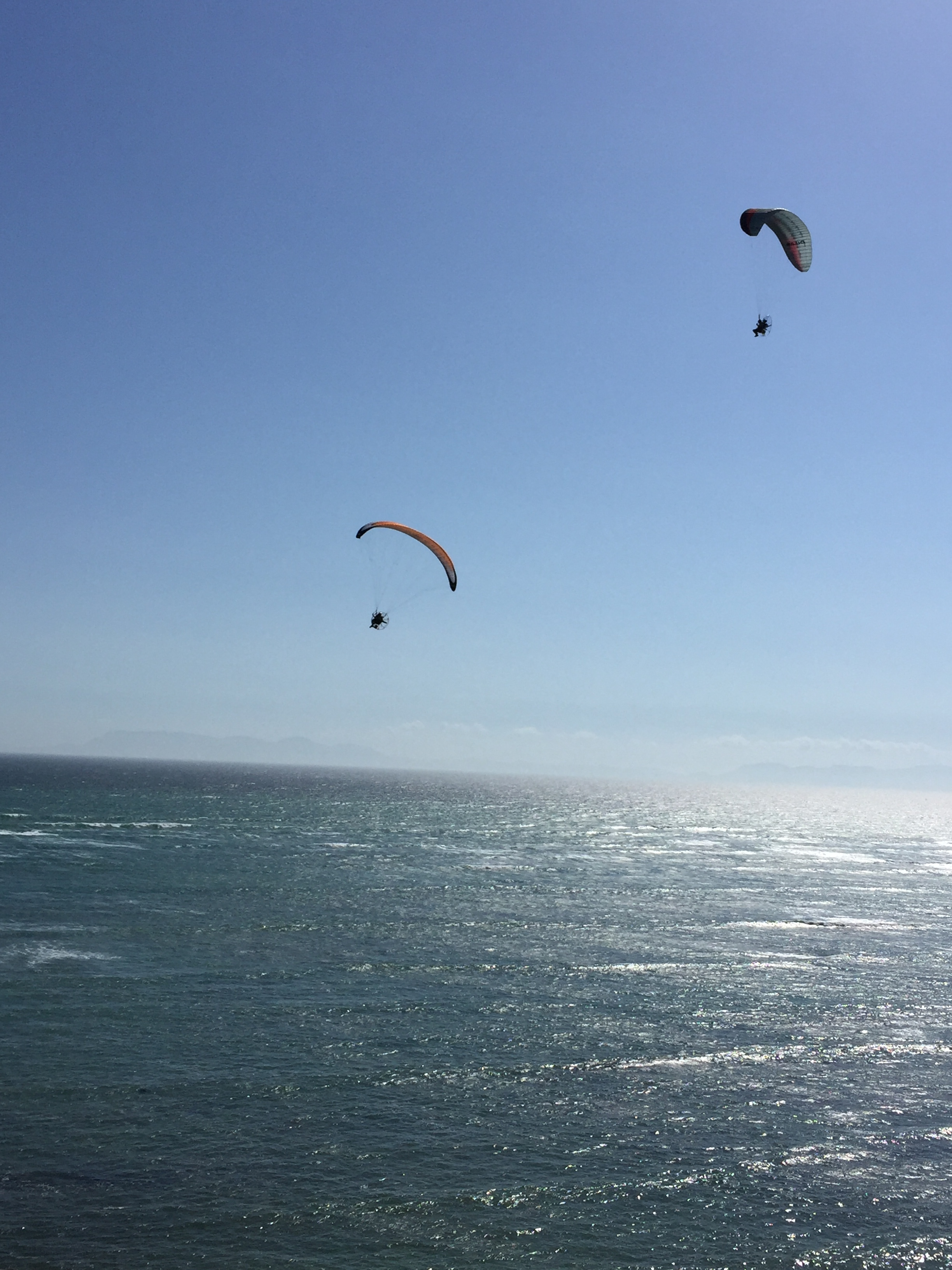 Two paragliders that flew past our flat.