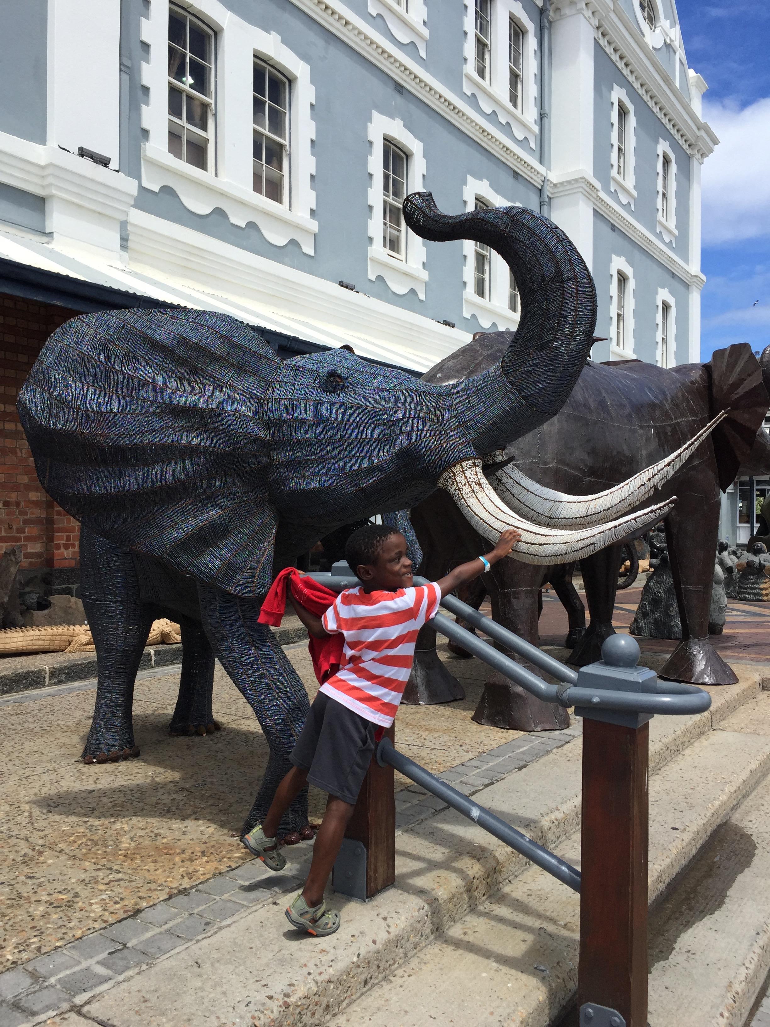 Huge beaded elephant.