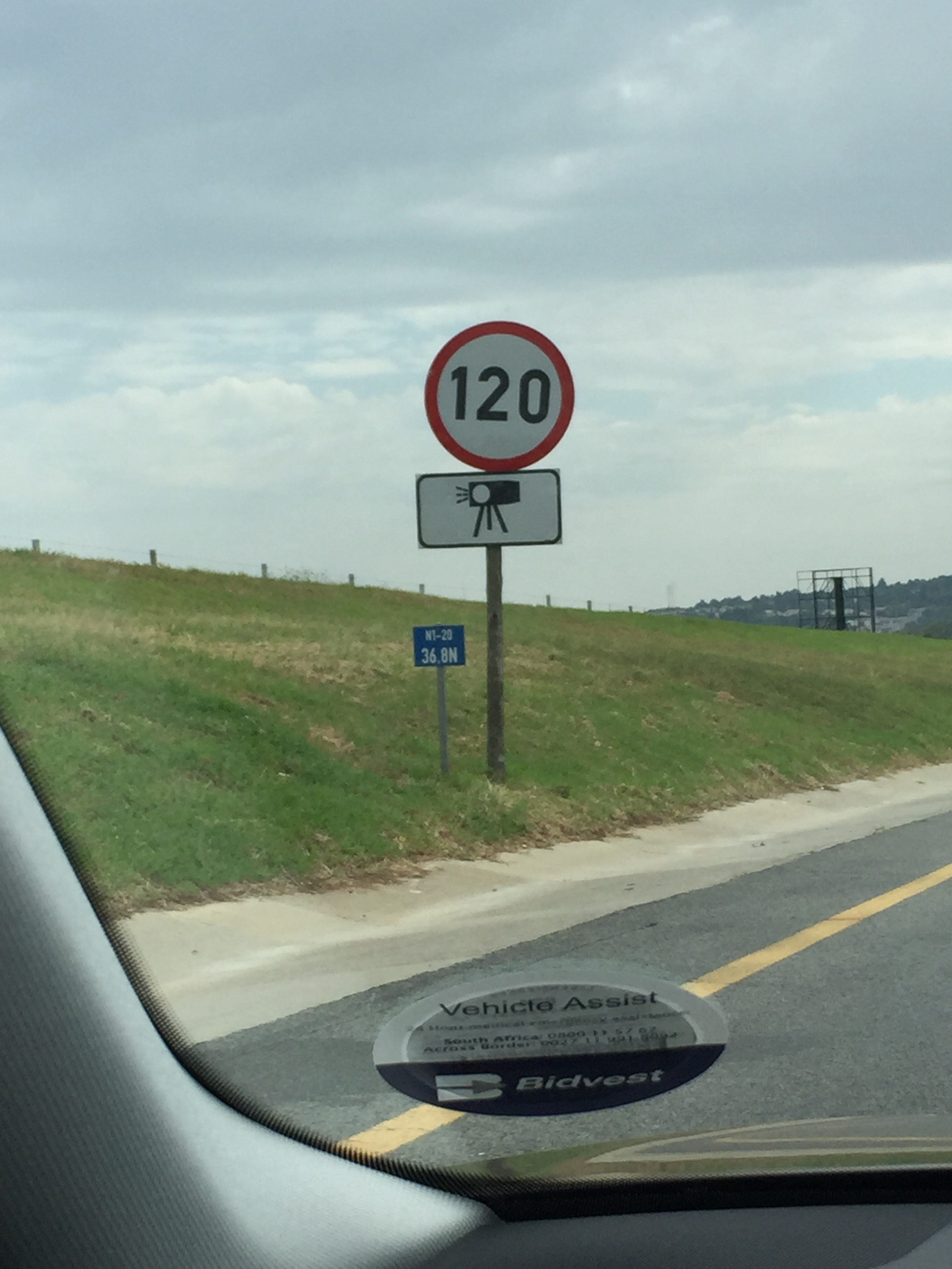 Speed cameras were everywhere! Note: It's not 120 mph, but kph. Sadly.