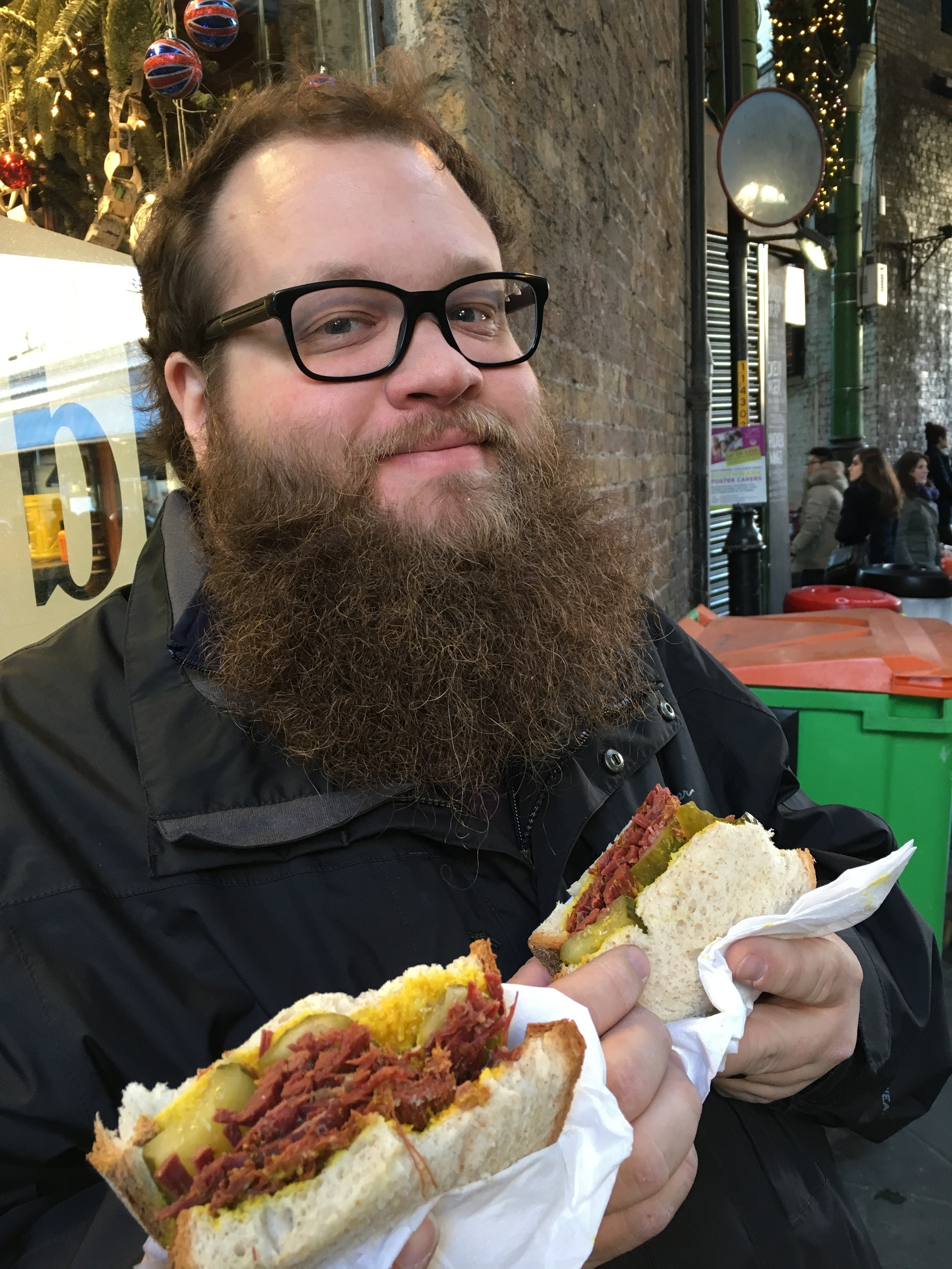 Brian REALLY wanted his picture with this sandwich (look at that sparkle in his eyes!). To be fair, it was delicious—shredded corned beef, mustard, and pickles.